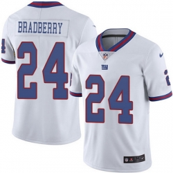 Nike Giants 24 James Bradberry White Men Stitched NFL Limited Rush Jersey