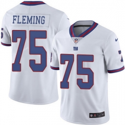 Nike Giants 75 Cameron Fleming White Men Stitched NFL Limited Rush Jersey