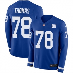 Nike Giants 78 Andrew Thomas Royal Blue Team Color Men Stitched NFL Limited Therma Long Sleeve Jersey