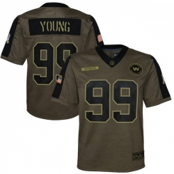 Youth Washington Football Team Chase Young Nike Olive 2021 Salute To Service Game Jersey