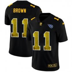 Tennessee Titans 11 A J  Brown Men Black Nike Golden Sequin Vapor Limited NFL Jersey