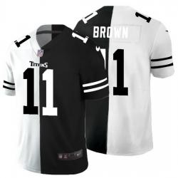 Tennessee Titans 11 A J  Brown Men Black V White Peace Split Nike Vapor Untouchable Limited NFL Jersey