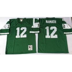 Men New York Jets 12 Joe Namath Green M&N Throwback Jersey