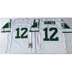 Men New York Jets 12 Joe Namath White M&N Throwback Jersey