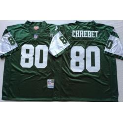 Men New York Jets 80 Wayne Chrebet Green M&N Throwback Jersey