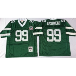 Men New York Jets 99 Mark Gastineau Green M&N Throwback Jersey