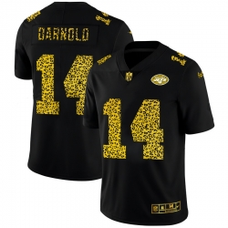 New York Jets 14 Sam Darnold Men Nike Leopard Print Fashion Vapor Limited NFL Jersey Black