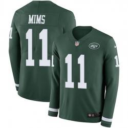 Nike Jets 11 Denzel Mim Green Team Color Men Stitched NFL Limited Therma Long Sleeve Jersey