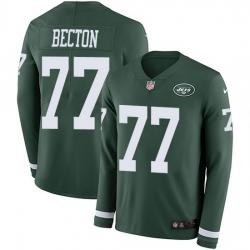 Nike Jets 77 Mekhi Becton Green Team Color Men Stitched NFL Limited Therma Long Sleeve Jersey
