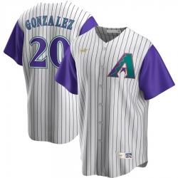 Men Arizona Diamondbacks 20 Luis Gonzalez Nike Alternate Cooperstown Collection Player MLB Jersey Cream Purple