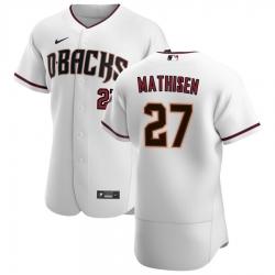 Men Arizona Diamondbacks 27 Wyatt Mathisen Men Nike White Crimson Flex Base Home Team MLB Jersey