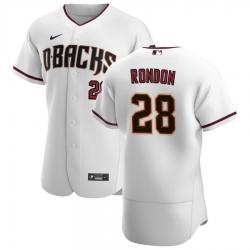 Men Arizona Diamondbacks 28 Hector Rondon Men Nike White Crimson Flex Base Home Team MLB Jersey