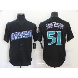Men Arizona Diamondbacks 51 Randy Johnson Black Cooperstown Collection Jersey