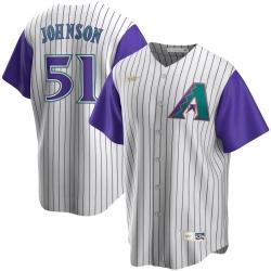 Men Arizona Diamondbacks 51 Randy Johnson Nike Alternate Cooperstown Collection Player MLB Jersey Cream Purple
