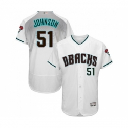 Men Arizona Diamondbacks 51 Randy Johnson White Teal Alternate Authentic Collection Flex Base Baseball Jersey