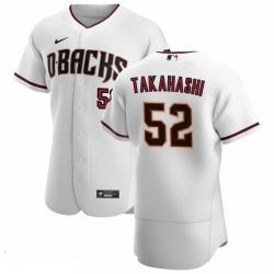 Men Arizona Diamondbacks 52 Bo Takahashi Men Nike White Crimson Flex Base Home Team MLB Jersey