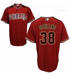 Mens Majestic Arizona Diamondbacks 38 Curt Schilling Authentic Red Alternate Cool Base MLB Jersey