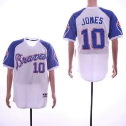 Men 2018 Atlanta Braves  #10 Chipper Jones Jersey New White Cool Base Jersey