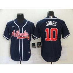 Men Atlanta Braves 10 Chipper Jones Navy Cool Base MLB Jersey