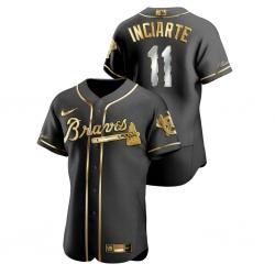 Men Atlanta Braves 11 Ender Inciarte Black Gold 2020 Nike Flexbase Jersey