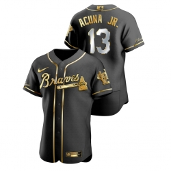 Men Atlanta Braves 13 Ronald Acuna Jr  Black Gold 2020 Nike Flexbase Jersey