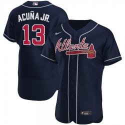 Men Atlanta Braves 13 Ronald Acuna Jr  Men Nike Navy Alternate 2020 Flex Base Player MLB Jersey