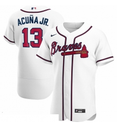 Men Atlanta Braves 13 Ronald Acuna Jr  Men Nike White Home 2020 Flex Base Player MLB Jersey