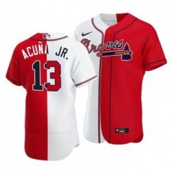 Men Atlanta Braves 13 Ronald Acuna Jr  Split White Red Two Tone Jersey