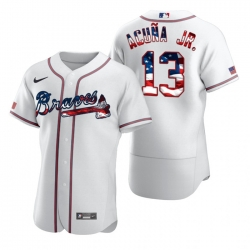 Men Atlanta Braves 13 Ronald Acuna Jr  White USA Flag Fashion Nike Cool Base Jersey