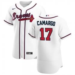 Men Atlanta Braves 17 Johan Camargo Men Nike White Home 2020 Flex Base Player MLB Jersey