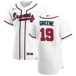 Men Atlanta Braves 19 Shane Greene Men Nike White Home 2020 Flex Base Player MLB Jersey