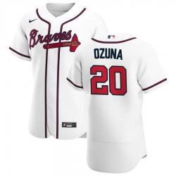 Men Atlanta Braves 20 Marcell Ozuna Men Nike White Home 2020 Flex Base Player MLB Jersey