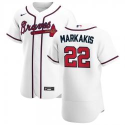 Men Atlanta Braves 22 Nick Markakis Men Nike White Home 2020 Flex Base Player MLB Jersey