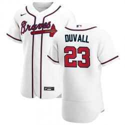 Men Atlanta Braves 23 Adam Duvall Men Nike White Home 2020 Flex Base Player MLB Jersey
