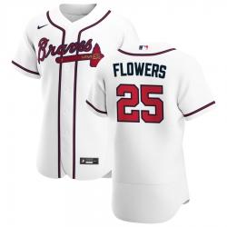 Men Atlanta Braves 25 Tyler Flowers Men Nike White Home 2020 Flex Base Player MLB Jersey