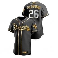Men Atlanta Braves 26 Mike Foltynewicz Black Gold 2020 Nike Flexbase Jersey