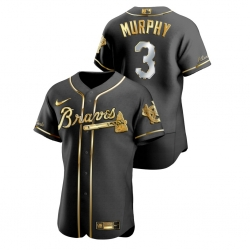 Men Atlanta Braves 3 Dale Murphy Black Gold 2020 Nike Flexbase Jersey