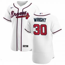 Men Atlanta Braves 30 Kyle Wright Men Nike White Home 2020 Flex Base Player MLB Jersey