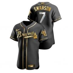 Men Atlanta Braves 7 Dansby Swanson Black Gold 2020 Nike Flexbase Jersey