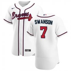 Men Atlanta Braves 7 Dansby Swanson Men Nike White Home 2020 Flex Base Player MLB Jersey