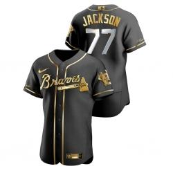 Men Atlanta Braves 77 Luke Jackson Black Gold 2020 Nike Flexbase Jersey