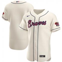 Men Atlanta Braves Men Nike Cream Alternate 2020 Flex Base Official MLB Team Jersey
