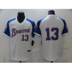 Men Nike Atlanta Braves Acuna Jr. 13 White Blue Pullover Jersey