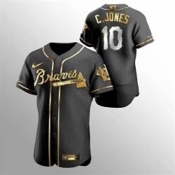 Men Nike Atlanta Braves Chipper Jones 10 Black Gold Edition Jersey