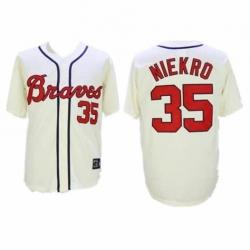 Men's Atlanta Braves #35 Phil Niekro Cream Throwback Jersey