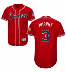 Mens Majestic Atlanta Braves 3 Dale Murphy Red Alternate Flex Base Authentic Collection MLB Jersey