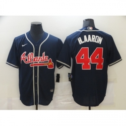 Men's Majestic Atlanta Braves #44 Hank Aaron Blue Jersey