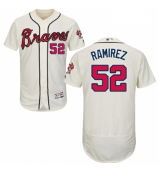 Mens Majestic Atlanta Braves 52 Jose Ramirez Cream Alternate Flex Base Authentic Collection MLB Jersey