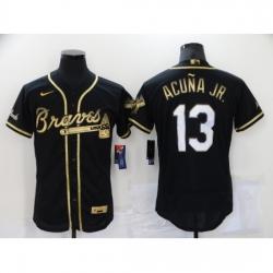 Men's Nike Atlanta Braves #13 Ronald Acuna Jr. Black Gold Stitched Baseball Jersey