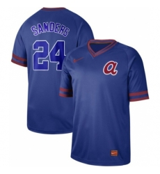 Mens Nike Atlanta Braves 24 Deion Sanders Royal Authentic Cooperstown Collection Stitched Baseball Jerse